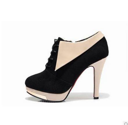 复古英伦风单靴女单鞋正品马丁靴女绒面系带细跟短靴女包邮 女鞋