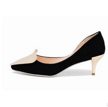 女单鞋金属搭扣时尚女鞋休闲女鞋新款优雅尖头细跟鞋包邮