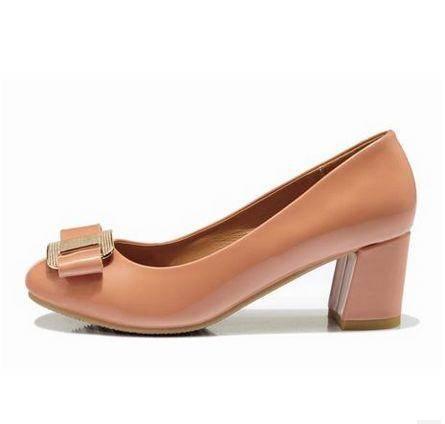 亮色蝴蝶结低帮单鞋2014新款韩版甜美中跟粗跟女鞋单鞋