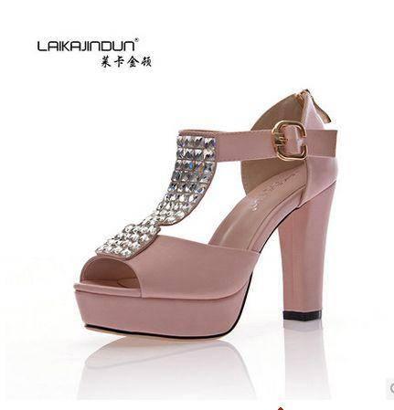 后拉链坡跟防水台粗跟女鞋 2014夏季新款水钻高跟女鞋女凉鞋包邮