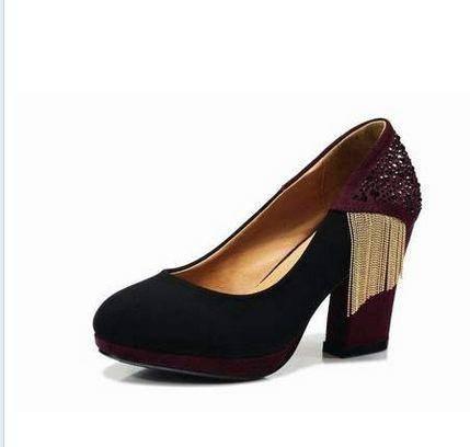 粗跟圆头女鞋浅口单鞋女韩版低帮鞋新款秋流苏高跟鞋女包邮