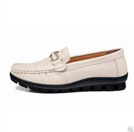 缝制低帮鞋平底豆豆鞋女头层牛皮女鞋金属扣印花女单鞋包邮