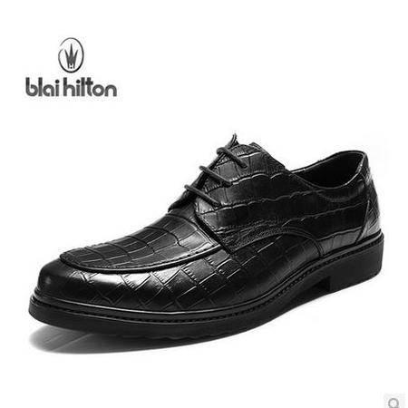 英伦休闲男鞋子潮流鳄鱼纹真皮商务正装皮鞋男 包邮