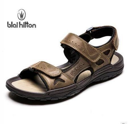 夏季商务户外休闲牛皮防滑凉鞋品牌男士真皮沙滩鞋包邮