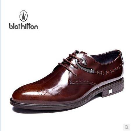 头层牛皮雕花漆皮皮鞋正装男鞋新款 包邮
