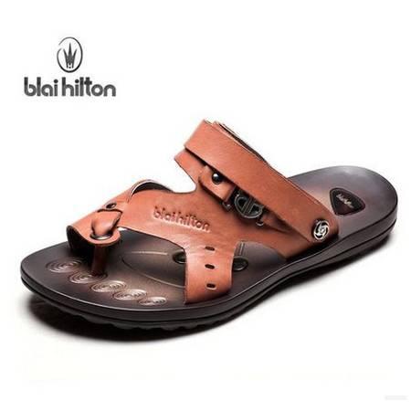 夏季时尚两用凉拖新款夹趾真皮凉鞋 潮男士沙滩鞋包邮