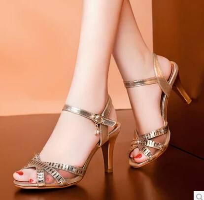 夏季新款 女凉鞋 水钻细跟高跟鞋 欧美鱼嘴女鞋 女鞋包邮