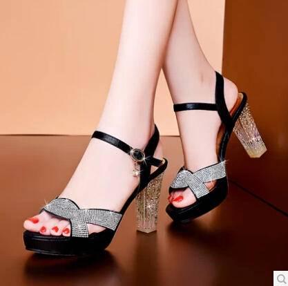 新款夏季 女凉鞋 防水台高跟鞋鱼嘴水晶跟粗跟女鞋水钻