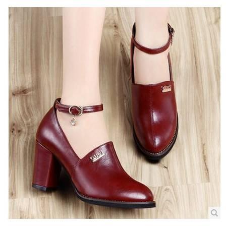 英伦中口单鞋女高跟鞋圆头单鞋秋冬新款粗跟高跟女鞋包邮0902