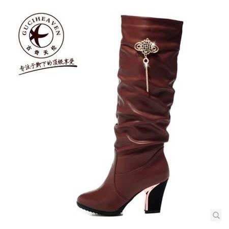 欧美高筒靴 休闲时装靴 人造革/PU女鞋 包邮0903