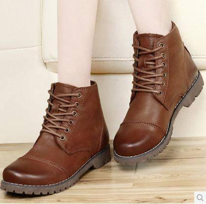 秋季新款坡跟单鞋真皮女鞋休闲中跟牛皮四季鞋皮鞋大码