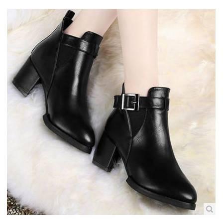 高跟方跟复古短筒女单靴子骑士靴女秋冬新款包邮0903