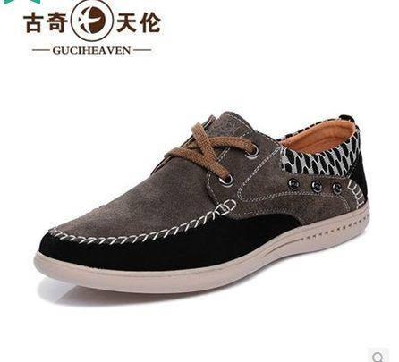 男士日常休闲舒适真皮皮鞋 时尚反绒皮英伦风低帮男鞋子  时尚反绒皮男鞋 耐磨低帮鞋