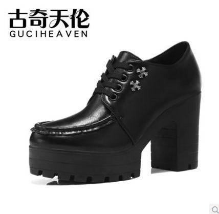 韩版休闲低帮鞋防水台2014初秋新款女鞋粗跟高跟单鞋包邮0903