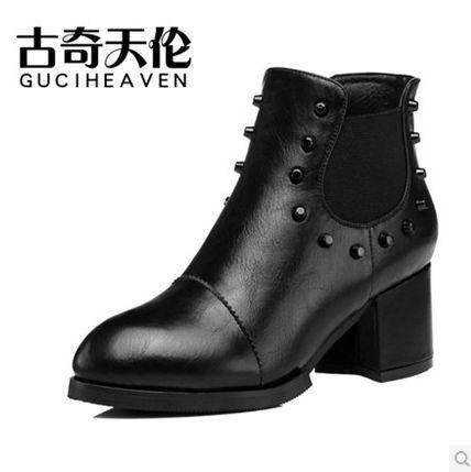 复古女鞋秋季新款套脚粗跟中跟女鞋单鞋铆钉套脚包邮0903