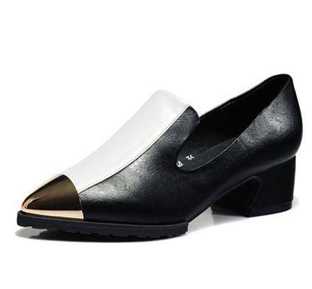 缺口金属尖头粗跟低帮鞋女漆皮女单鞋秋季英伦复古女鞋包邮0910