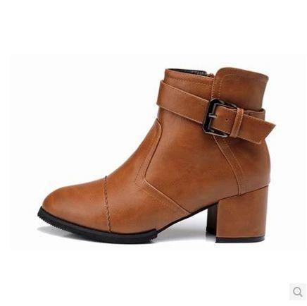 尖头女机车靴粗跟军靴女靴子秋冬欧美短靴女鞋加绒马丁靴包邮0910