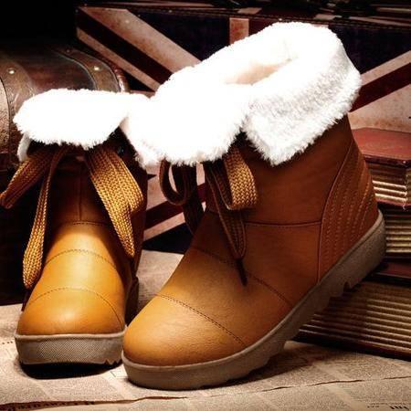 内增高女靴子中筒靴雪地靴防水真皮保暖棉靴 厚底松糕靴包邮0915