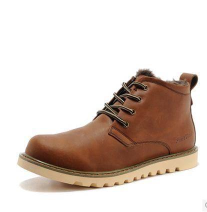 冬季加绒保暖休闲短靴真皮英伦短筒靴子男男士工装靴包邮0922