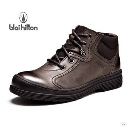 潮流短筒男靴子户外防滑工地靴 冬季加绒保暖工装靴包邮0923
