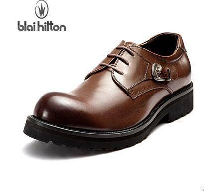 增高低帮潮鞋子商务鞋男男士真皮工装鞋英伦大头鞋包邮0923