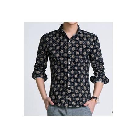 男休闲纯棉修身小碎花男式衬衣春秋新款长袖衬衫1024