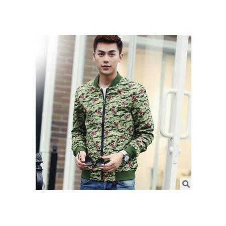 夹克男 装修身无领韩版男士夹克潮外套秋季新款男式迷彩包邮1024