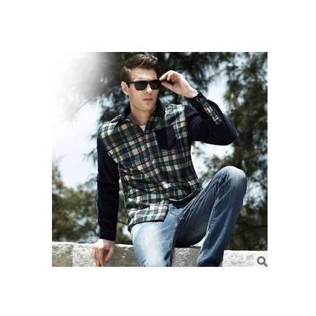 韩版时尚男式衬衫 加绒衬衫男装秋冬新款男士衬衫包邮1024
