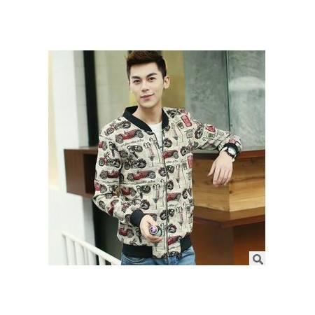 修身无领韩版男士外套秋季新款男式花夹克包邮1024