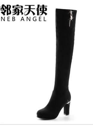 2014秋冬新款长靴欧美高跟弹力靴休闲长筒靴粗跟马丁靴女长靴女鞋