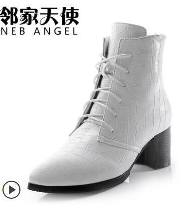2014春秋季英伦短靴女鞋欧美单靴子冬筒裸靴粗跟高跟马丁靴女鞋