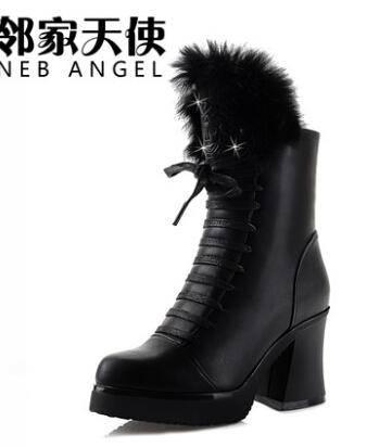 2014新款马丁靴冬季短靴 粗跟女靴英伦靴子 兔毛中筒高跟春秋女鞋