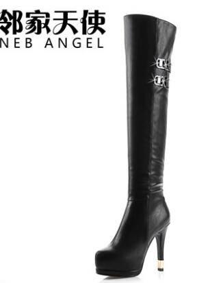 2014冬季长靴子过膝靴弹力靴欧美瘦腿春秋细跟铆钉高跟高筒靴女鞋