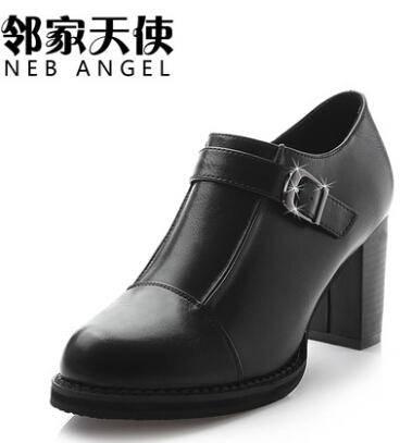 邻家天使 女单鞋 高跟鞋英伦扣子粗跟女鞋