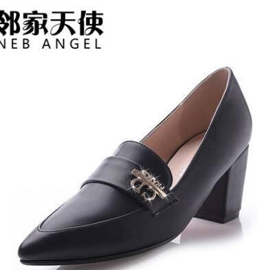 邻家天使 女单鞋 中跟时尚粗跟尖头女鞋