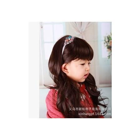 可爱儿童长卷假发 拍照公主头饰摄影卷发假发jiafa新航