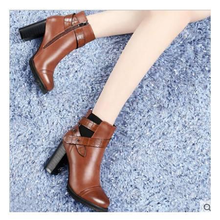 古奇天伦新款秋季女鞋粗跟高跟短靴优雅女靴马丁靴女短筒彩云