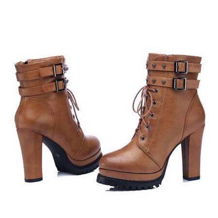古奇天伦马丁靴秋冬新款高跟女靴系带百搭保暖短靴时装靴彩云