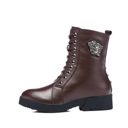 古奇天伦头层牛皮女靴 真皮中筒靴 冬季女鞋 加绒中跟马丁靴 彩云