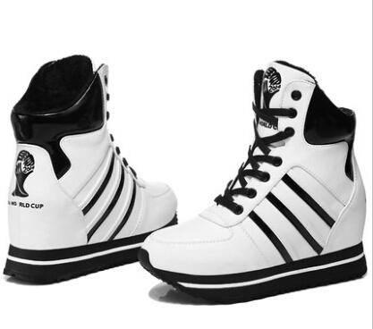 古奇天伦冬季新款8118松糕鞋 运动休闲高帮鞋加绒保暖内增高女鞋彩云