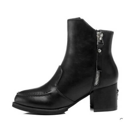 古奇天伦春秋新款8121女鞋 英伦粗跟马丁靴 高跟短靴女靴单靴裸靴彩云