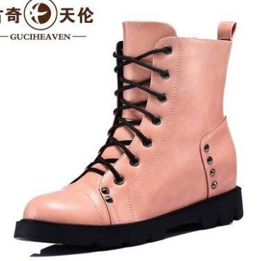 古奇天伦秋季新款高帮鞋女鞋单鞋坡跟低跟单鞋休闲鞋铆钉彩云