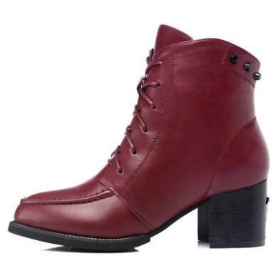 古奇天伦方根女鞋尖头女靴棉鞋子高跟鞋短筒靴子新款正品8088彩云