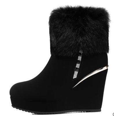 冬季女靴子 坡跟兔毛短靴厚底女鞋子防水台雪地靴彩云