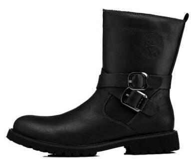 真皮休闲中筒靴棉鞋时尚搭扣拉链头层牛皮男硬汉工装彩云