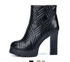 2014马丁靴女潮英伦风厚底格纹面秋冬女鞋粗跟短靴女靴子彩云
