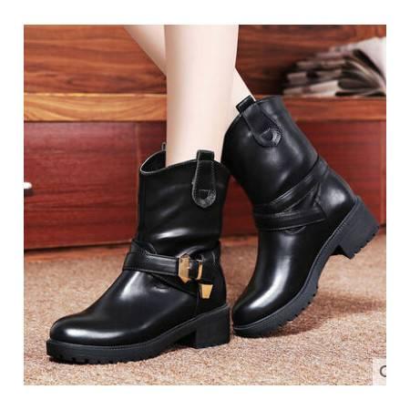 2014中筒靴马丁靴女英伦潮休闲女 秋冬新款低跟女靴子粗跟彩云