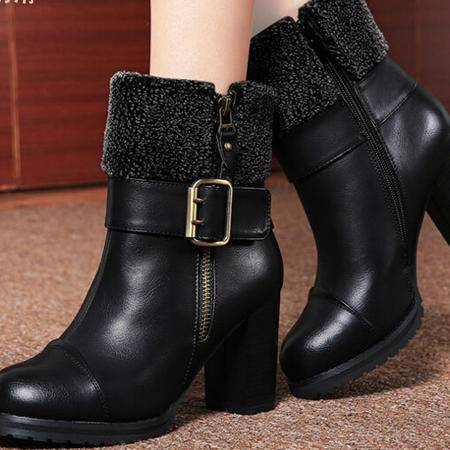 2014冬季新款马丁靴女潮英伦风 高跟女靴子粗跟短靴翻毛彩云