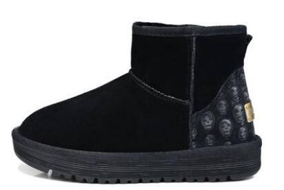 2014冬季女短靴时尚英伦风女靴子牛皮羊毛保暖内里雪地靴彩云