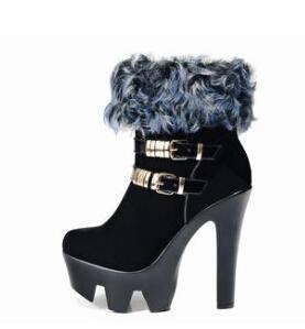 粗跟兔毛冬季保暖短靴女超高跟冬靴女靴子厚底高防水台彩云